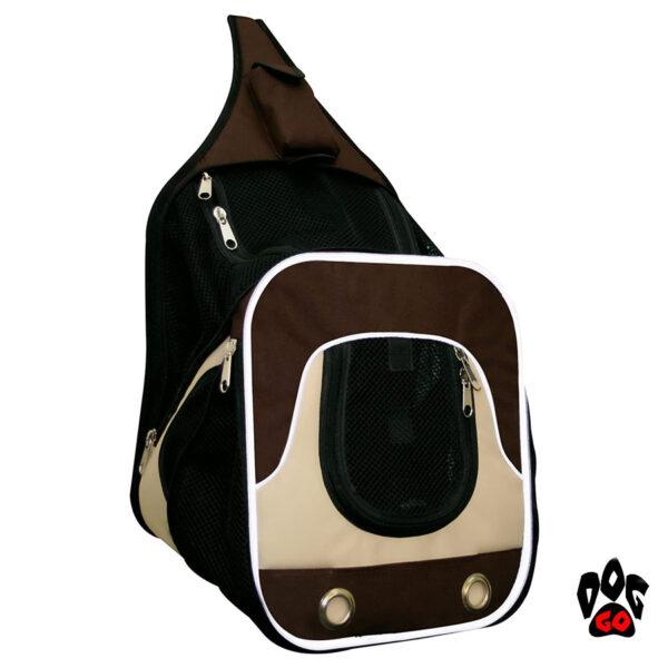 Рюкзак для переноски животных CROCI Fast&Easy, для выставок, коричневый+бежевый или хаки, 30х33х26см, до 10кг-1