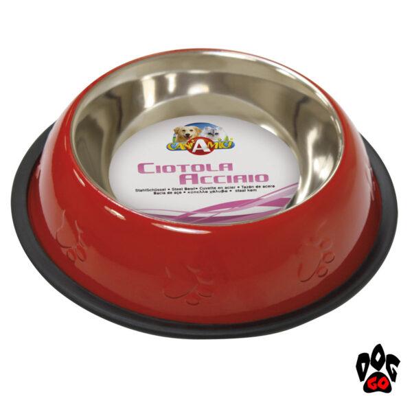 Стальная миска для собак CROCI нержавейка, непроливайка на резинке, глазурь и чеканка-1