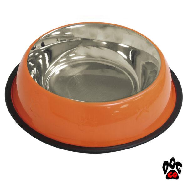 Стальная миска для собак CROCI нержавейка, непроливайка на резинке, глазурь и чеканка-3