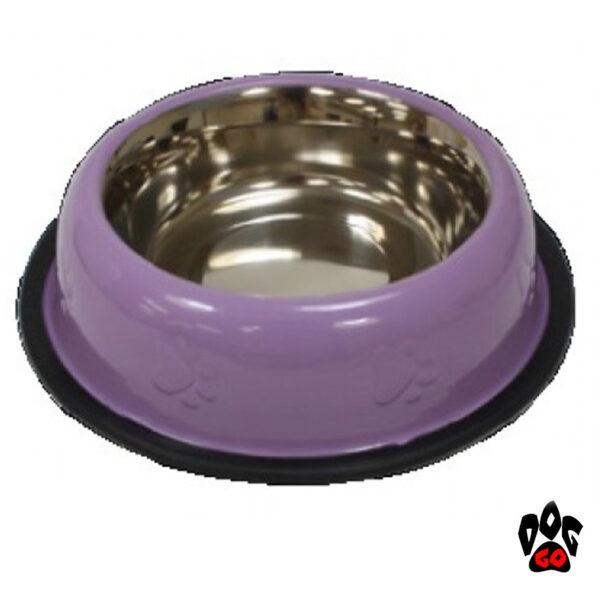 Стальная миска для собак CROCI нержавейка, непроливайка на резинке, глазурь и чеканка-5