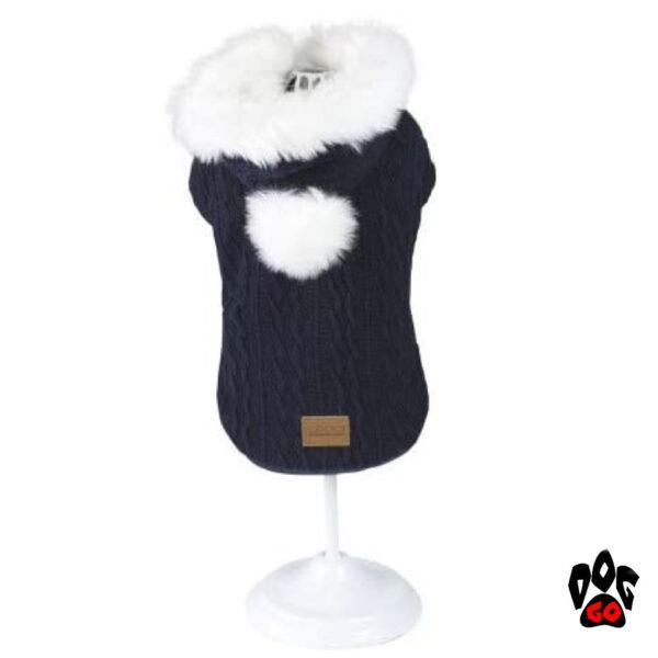 Вязаная кофта для собаки CROCI CUSHY BLUE, с мехом на капюшоне