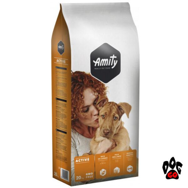 AMITY ECO Active Корм для взрослых собак с высокими нагрузками, мясо, 20кг-1