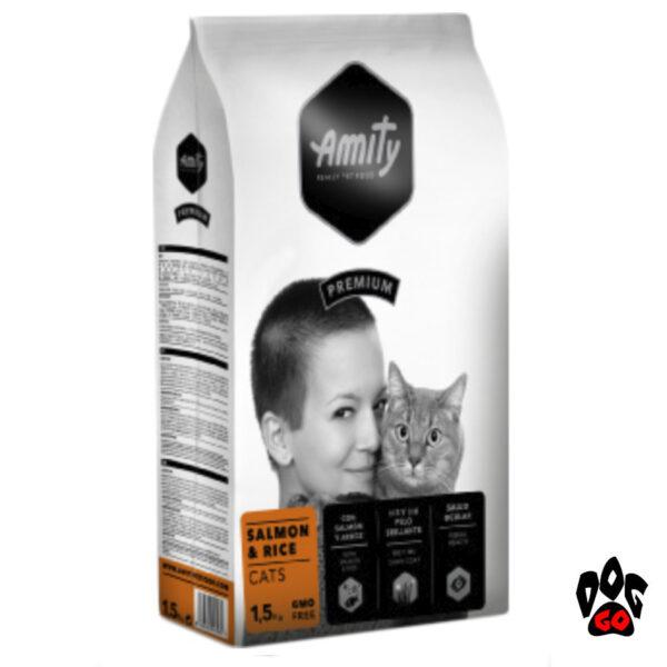 AMITY Salmon&Rice Корм для котов, с лососем и рисом, повседневный, 1.5кг-1