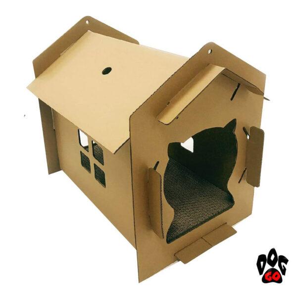 Домик когтеточка из картона CROCI Villa mono, гофрированный картон, 42x35x50см-1