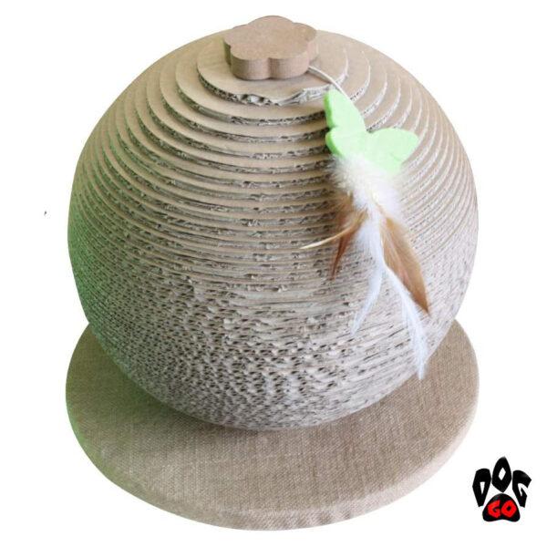 Когтеточка из гофрокартона CROCI Papercat Sphere, сфера на подставке, 30х30х33см-1