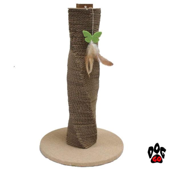 Когтеточка из картона CROCI Papercat Spiral, столбик на подставке, гофракартон, 35х35х59см-1