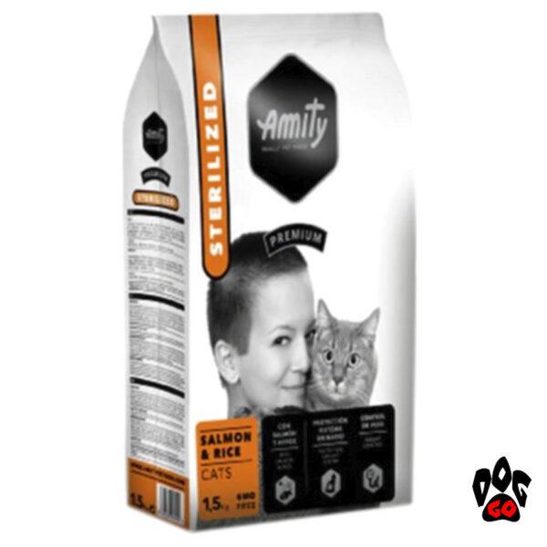 Корм AMITY для стерилизованных кошек Sterilized Salmon&Rice, с лососем и рисом, 1.5кг-1