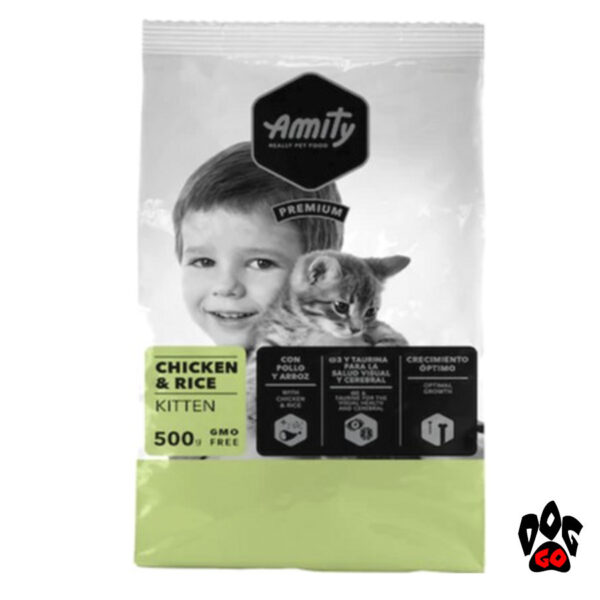 Корм для котят AMITY Kitten, с курицей и рисом, повседневный, 500г-1