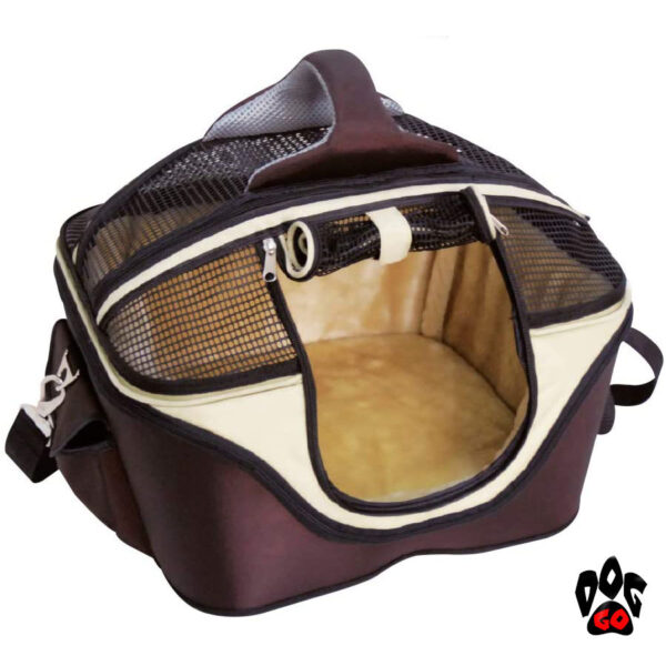Сумка-лежак для собак и кошек CROCI Fast&Easy, для выставок, 42х33х29см, до 12кг, коричневый+беж-1