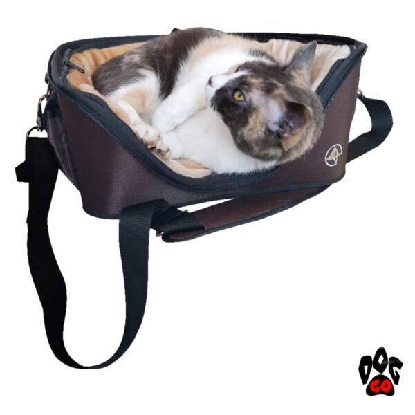 Сумка-лежак для собак и кошек CROCI Fast&Easy, для выставок, 42х33х29см, до 12кг, коричневый+беж-2