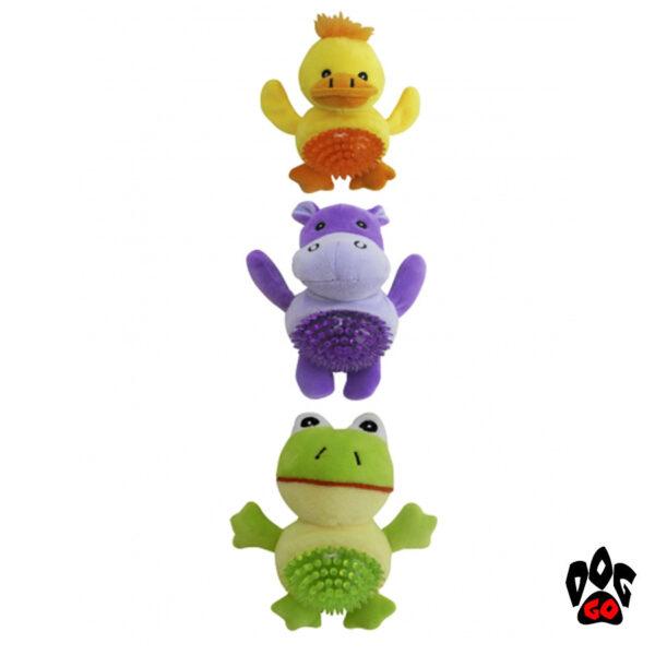 Игрушка для щенков и маленьких собак прыгающие CROCI Анимал-бол, плюш+силикон-1