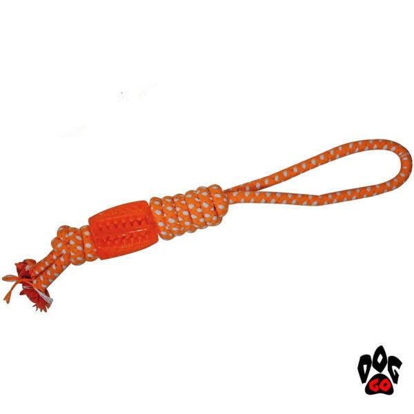 Игрушка для собак Канат CROCI Цилиндр, коттон+резина, оранжевый, 41 см-1