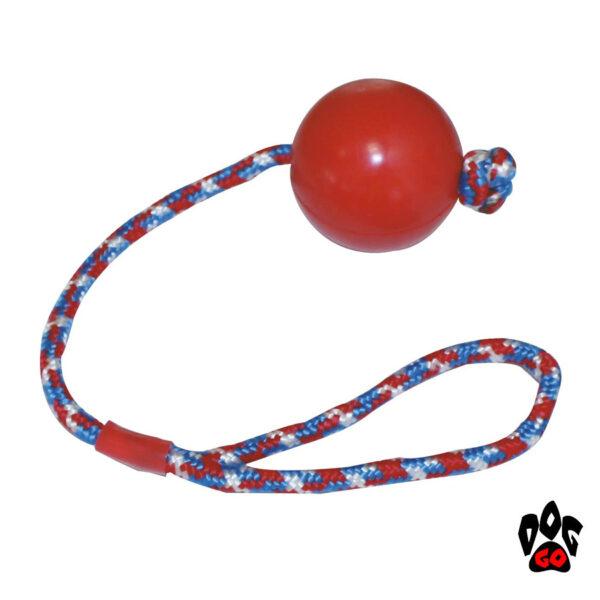 Игрушка для собак мяч на веревке CROCI литой, резина 6.5см-1