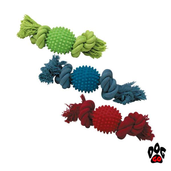 Игрушка для собак Мяч с шипами CROCI CaniAMici, с канатом, резина, 25см-1
