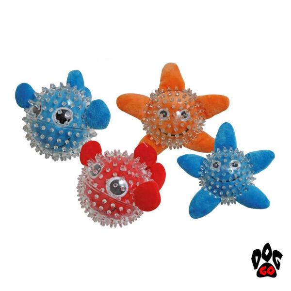 Игрушки для щенков и маленьких собак CROCI Море, шипованная, резина, 9см-1