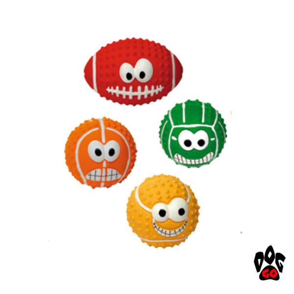 Мячи для собак CROCI, с улыбкой, ассорти, латекс, 4 вида, 7.5см-1