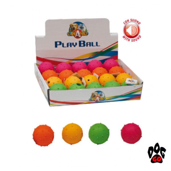 Мячик для собак, с пищалкой CROCI, резиновый с шипами, Д=5см, 4 цвета-1