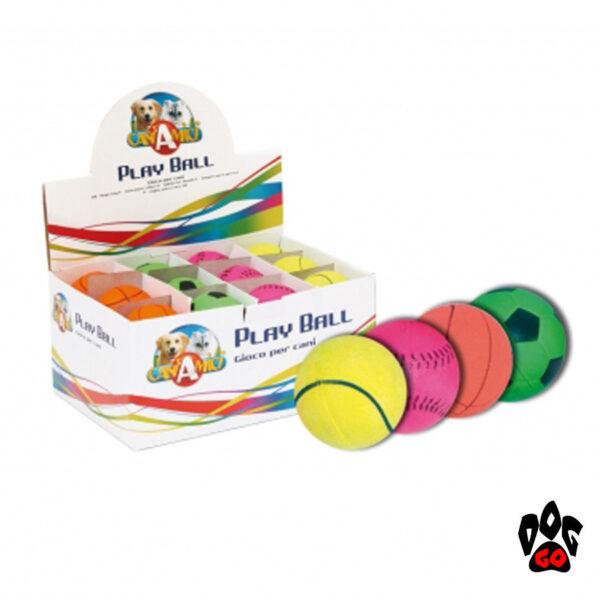 Резиновый мячик для собаки CROCI, НЕОН светящийся, литой, Д=5,5см, 4 вида-1