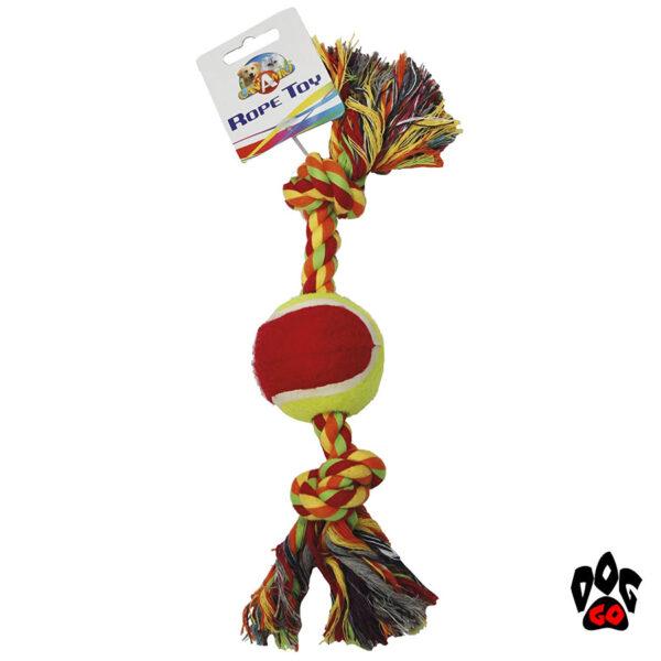 Игрушка для собак Канат с теннисным мячом CROCI грейфер, 30.5см, 6см-1