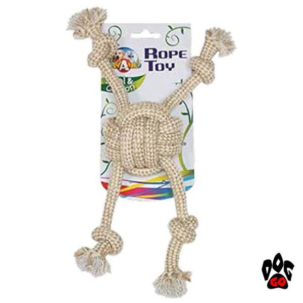 Игрушка для собак канат с мячом CROCI ECO, грейфер с веревками, хлопок+сизаль, 7.5х32см-1