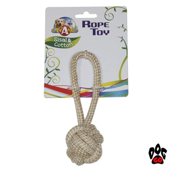 Мяч для дрессировки собак CROCI ECO, канат грейфер c ручкой, хлопок+сизаль-1