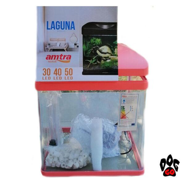 Аквариум 18 литров AMTRA LAGUNA 30 LED, коралловый (30x23.5x34.5см) 3 watt 4мм-7