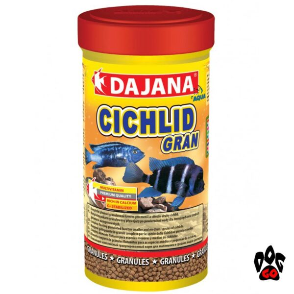 Корм для рыбок цихлид DAJANA Cichlid Gran, гранулы, для маленьких и средних-1