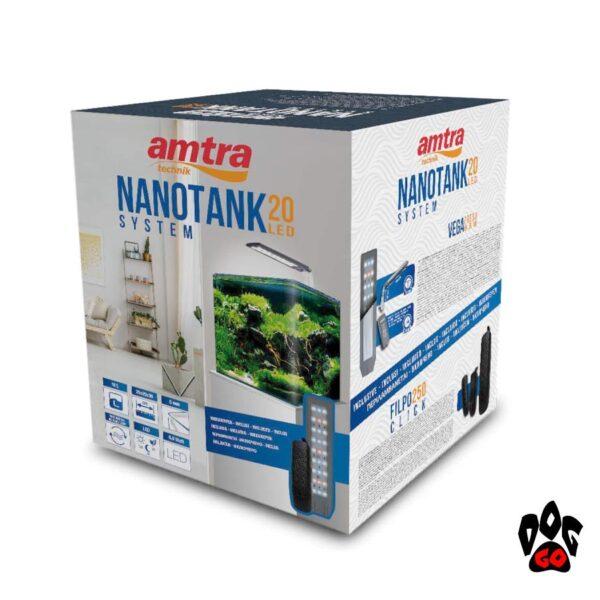Панорамный аквариум 18 литров AMTRA NANOTANK CUBO SYSTEM 20 (25x25x30см), свет Vega 6.8Вт, фильтр Click251-2