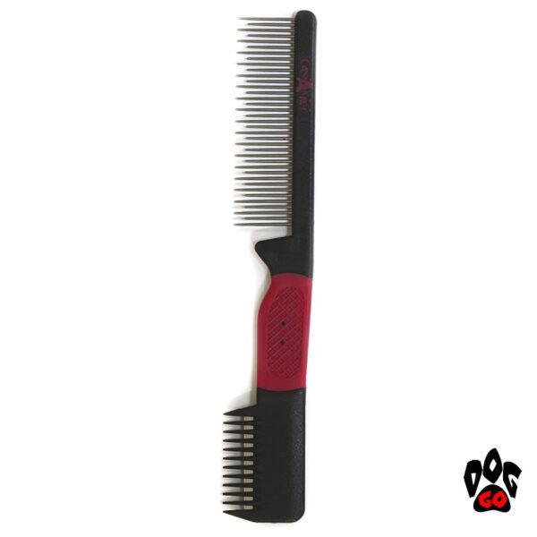 Расческа CROCI 2 в 1 для собак и кошек, разно зуб + триммер, 3х19см-1