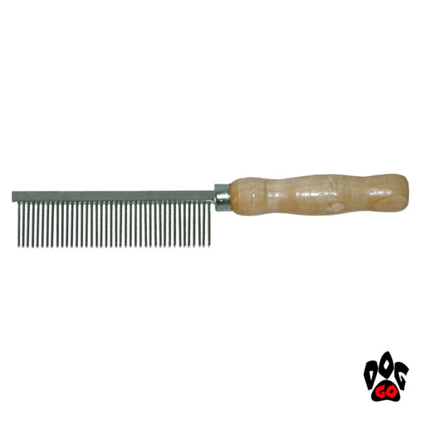 Расческа для собак с деревянной ручкой CROCI, с густыми зубьями, 3.6х20см-1
