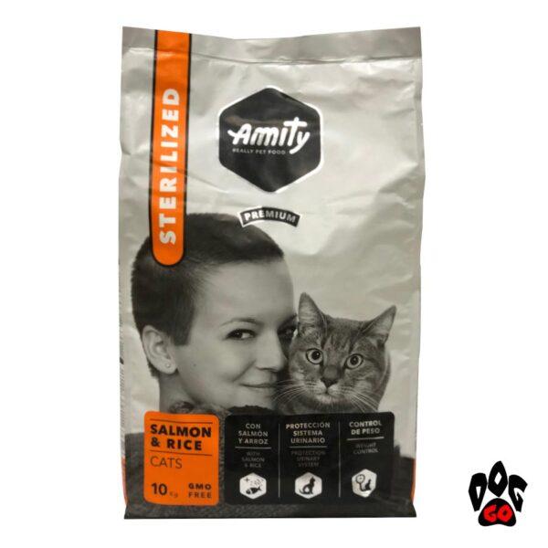 АМИТИ корм для стерилизованных кошек Sterilized Salmon&Rice, с лососем и рисом, 10кг